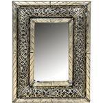 Orient Spiegel Wandspiegel Kifah 35cm groß Silber   Großer Marokkanischer Flurspiegel mit Holzrahmen orientalisch verziert   Orientalischer Vintage Badspiegel ohne Beleuchtung als Orientalische Deko