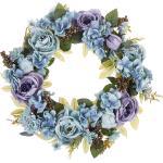 Osterdekoration Kranz Blau Blumenmotiv Holz rund ø 50 cm Türdeko Flur Wohn- und Schlafzimmer