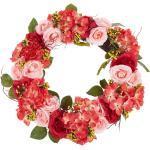 Osterdekoration Kranz Rot / Rosa Blumenmotiv Holz rund ø 50 cm Türdeko Flur Wohn- und Schlafzimmer