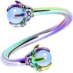 OUFER Twist Helix Earring 316L Stainless Steel Dragon Claw with Opalite Center 16G Twist Lip Labret Belly Bars Cartilage Earring Piercing Jewellery Rainbow