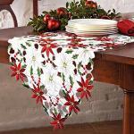 OurWarm Tischläufer Weihnachtsstern und Stechpalmenblättern Weihnachten Stickerei Tischdecke Weihnachten Deko 176 x 38 cm