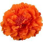 Outflower Kleiner Blumenstrauß, Deko-Blume für Strohhut, große Ansteckblume, Pfingstrose, Haarspange, Stoff, Orange, 11 cm