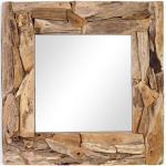 OUTLIV. Spiegel 100x100x10cm Teak-Holz/Glas