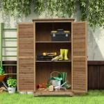 Outsunny® Gartenschrank mit Lamellentüren | Gerätehaus | 87 x 46,5 x 160 cm | Natur