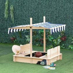 Outsunny® Sandkasten mit Dach abnehmbar Rücklehnen Zedernholz 3-7 Jahren Natur