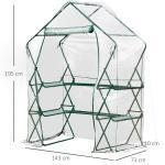 Outsunny® Tomatenhaus Gewächshaus Treibhaus mit Blumenregal Pflanzenhaus für Garten