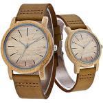 Paar Uhr Holz Armbanduhr Bambus Holz Natur ECHT Leder Gurt Holz Armbanduhr Japanisches Quarz-Uhrwerk für Damen & Herren (Paar Uhr)