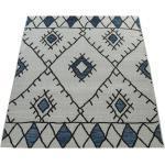 Paco Home In- & Outdoor Teppich Flachgewebe Geometrisch Abstrakt Rauten Design Ethno Blau blau 200X280 cm