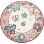 Pinke Paco Home Kinderteppiche mit Schmetterlingsmotiv schmutzabweisend