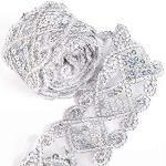 Pailletten-Spitzenband mit Netzbesatz, Applikation, Nähen, Bastelzubehör für Kleidung, Vorhänge, Tischläufer, Dekoration, 9,1 m (Silber)