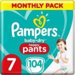 Pampers Baby Dry Pants Größe 7 (17+ kg) Extra Large Plus, MonatsBox, 104 Stück