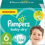 Pampers Baby Dry Windeln Größe 6 (13-18 kg) Extra Large, Monatsbox, 124 Stück, Gr. 6