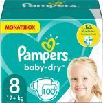 Pampers Baby Dry Windeln Größe 8 (17+ kg) Extra Large, MonatsBox, 100 Stück