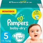 Pampers Windeln Baby-Dry Größe 5 Junior, 11-16 kg, MonatsBox (144 St)