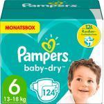 Pampers Windeln Baby-Dry Größe 6 Extra Large, 13-18 kg, MonatsBox (124 St)