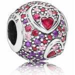 PANDORA 797826CZRMX Asymmetric Hearts of Love - Charm - Silber - Zirkonia Herzen