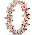 Pandora Daisy Flower Ring in Roségold mit 14 Karat rosévergoldete Metalllegierung und Cubic Zirkonia Steinen aus der Pandora Moments Collection, Größe 58