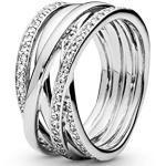 Pandora Damen Funkelnde Bänder Ring 190919CZ-50, silber