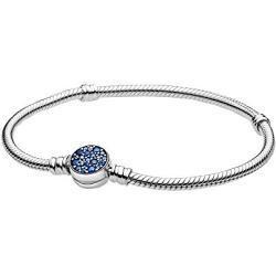 Pandora Moments Schlangen-Gliederarmband mit Funkelndem blauem Scheibenverschluss aus Sterling Silber / Größe: 21cm