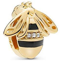 Pandora Reflexions bee clip charm in Pandora Shine with clear cubic zirconia and black enamel