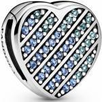 Pandora Reflexions CLIP - Stopper - 799346C01 - Herz Silber Clip Charm mit Stella Blau und eisigem Blau Kristall