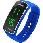 Panegy–Elektronische Armbanduhr Quarz digitale LED-Anzeige - wasserdicht gebogenes Silikongehäuse - Gelfarben - Blau