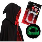papapanda Vampir Kapuze Umhang Schwarz Rot und Vampirzähne für Kinder oder Erwachsene Halloween Dracula Cosplay 130cm