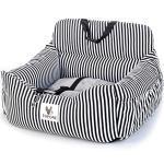 papasgix Autositz für klein Hunde 2-in-1 Autositz und Bett für Hunde, wasserfest und rutschfest, Sitzerhöhung für Katzen, Abnehmbarer Bezug und Kissen(Schwarzweiss-Streifen)