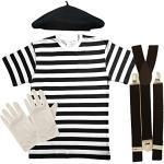 Paper Umbrella, französisches Pantomimen-Kostüm, Set bestehen aus 4 Teilen Men: 46/48 weiß/schwarz