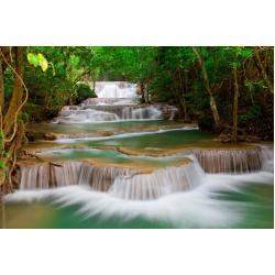 papermoon Vlies- Fototapete Digitaldruck 350 x 260 cm, Deep Forest Waterfall (GLO769559096)