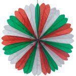 Papstar 10xDekofächer Ø 60 cm grün/weiss/rot schwer entflammbar 4002911293812