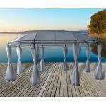 Pavillon / Gartenpavillon Ancona 3,5 x 5,3 m oval Metallpavillon grau