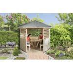 Pavillon weka mit Fußboden, Tisch und Sitzgelegenheit 223 x 257 cm natur