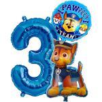 Paw Patrol Chase Geburtstags Set + Riesenzahl 1-8 Folienballon Luftballon Hunde Team 1 2 3 4 5 6 7 8 Zahl Hund Kindergeburtstag Deko Dekoration Mottoparty Party Herz Chas Ballon (Zahl 3)