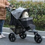 PawHut Hundewagen Hundebuggy Katzen Pet Stroller mit 3 Rädern klappbar Grau