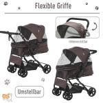 PawHut® Hundewagen Hundebuggy Katzenbuggy mit vier Rädern klappbar Hunde Oxford Braun