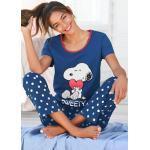 Peanuts Pyjama, mit Snoopy-Druck und Pünktchen-Hose blau Damen Pyjama Pyjamas Nachtwäsche Damenwäsche