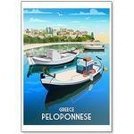 Peloponnes, Griechenland, Handarbeit, Illustration, Retro-Stil, Kühlschrankmagnet