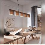 Pendelleuchte Holz-Textil 5-flammig Rohn braun/grau HxLxB 1360x1100x150 mm