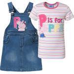 Peppa Pig Kinder Set T-Shirt und Jeans-Latzkleid mit Stickerei denim Mädchen Kinder
