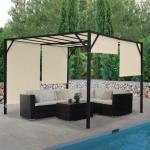 Pergola Beja, Garten Pavillon Terrassenüberdachung, stabiles 6cm-Stahl-Gestell + Schiebedach ' 3x3m