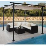 Pergola MCW-C42, Garten Pavillon, stabiles 6cm-Gestell + Schiebedach ' creme 3x3m