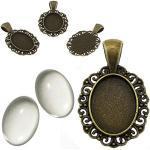 Perlin 6 Set Filigran Medaillons Metall Anhänger Fassungen und 18x13 mm Oval Klar Glas Cabochon, in Silber und Bronze Farbe, Fassung Rahmen Super Optik Bastelset (Bronze)