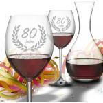 Personalisiertes Geschenk-Set Rotwein mit Dekanter zum 80. Geburtstag - Wunsc...