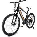PHOEBE CAT Mountainbike, 7 Gang Shimano, Kettenschaltung, Fahrrad E-Bike Shimano Schaltwerk, 250W, Heckmotor, 10AH Li-Ion-Akku, Schwarz-Orange