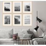 PHOTOLINI Bilderrahmen »6er Set 30x40 cm Modern Schmal mit Passepartout«, beige, Natur