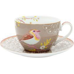 Pip Studio Early Bird Cappuccino Tasse mit Unterteller - 280 ml Pink