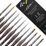 Pitello 12 Premium Detail Paint Brushes in verschiedenen Formen und Größen - Pinselset für Acryl, Aquarell, Ölfarben, Gouache – langlebig und formstabil
