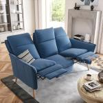 PLACE TO BE. 3-Sitzer, 3-Sitzer Sofa Couch Wohnlandschaft mit Relaxfunktionen und hoher Rückenlehne, blau, Eiche, Blau