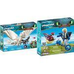 Playmobil DreamWorks Dragons 70038 Tagschatten und Babydrachen mit Kindern, Ab 4 Jahren & 70041 - Astrid mit Fluganzug und Nimmersatt